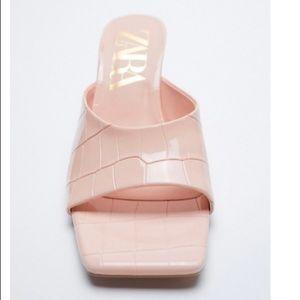 Zara croc print high heel mules NWT